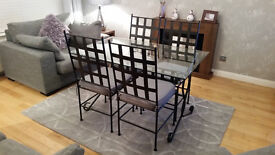 Black Metal and Glass Dining Table and 4 Chairs