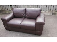Brown faux leather 2 seater