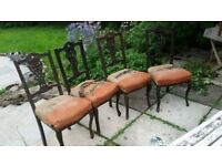 Set of 4 Victorian ebonised dining chairs with original seats, for reupholstery