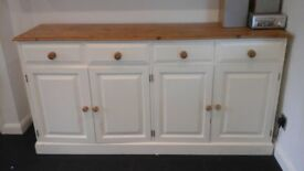 LARGE SOLID PINE CREAM PAINTED DRESSER, SIDEBOARD UNIT KITCHEN, DINING ROOM