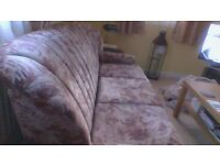 3 seater sofa good condition.also armchair same fabric .old style but looks good.