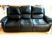 3 Seater Reclining Black Leather Sofa