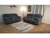 Ex-display Kennedy grey fabric manual recliner 3+2 seater sofas