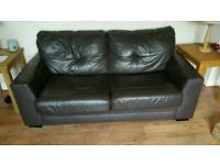 Brown leather bed settee