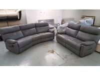 NEW SCS Ralph 4 Seater Curved Manual Recliner & 3 Seater Power Recliner Sofa Light Grey Can Deliver