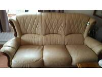 Beige Leather 3 piece suite