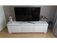 Leather Sofa (3 seater, arm chair and foot stool) plus white TV babinet