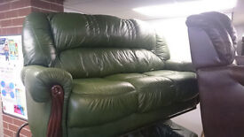 Green Leather 3 seat sofa settee with wood trim frame
