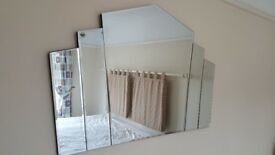 Art Deco 30's style wall-hung Mirror. Bevelled edged