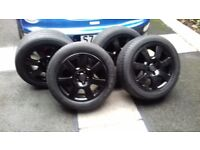 """Vw 16"""" alloys in black with good brand tyres"""