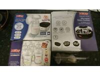 BRAND NEW NUBY BREAST PUMP, BOTTLES AND MICROWAVE STERILIZER