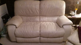*PRICE REDUCED* Comfortable two seater, cream leather sofa
