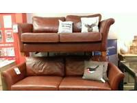 Two brown leather sofas 3 & 4 seater
