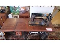 Vintage Singer Sewing Machine Table with cast iron base and treadle