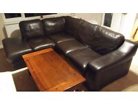 Left Hand Chaise End Black Leather Corner 3 Seater Sofa