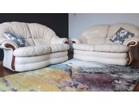 2 Cream two seater sofas for sale