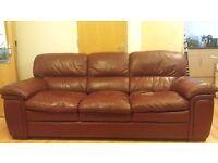 Oxblood Italian Leather 3-seater sofa BARGAIN