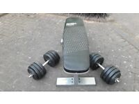 MIRAFIT WEIGHTS BENCH & 2 x 19.5KG DUMBBELL WEIGHTS SET