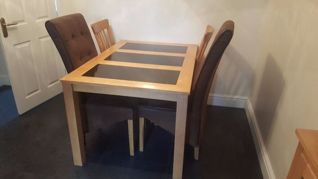 4 Seater Dining Table With Granite Sections And Chairs For Sale
