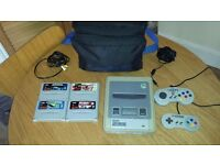 Super Nintendo SNES + 4 Games, Bag, controllers. Retro Vintage