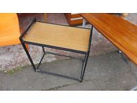 Black Metal Rectangular Trolley with Wood Effect Surface in Good Condition