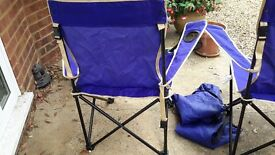 Pair of Blue fold up chairs with covers ideal beach / picnics
