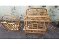 Vintage wicker trolley and magazine rack