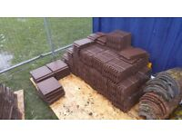 Redland concrete smooth brown roof tiles