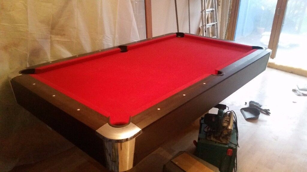 7FT X 4FT Pool/snooker table, red cloth with accessories.