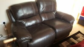 Brown leather look sofa
