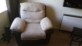 Electric recliner chair and two seater manual recliner sofa