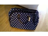 Brand New Travel Holdall Trolley bag - Navy with white polka dots