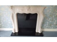 Marble Cast Fire Surround, Black Granite back panel, hearth and Dimplex LX515 Electric Fire