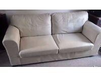 Italian leather 3 seater sofa (cream colour)