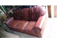 Leather Sofa - Free - Three Seater