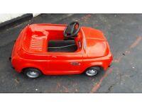 Childs fiat 500L red peddle car
