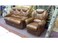 antique brown italian leather 3 seater sofa and 1 armchair suite