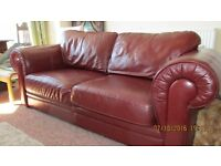Genuine Leather Klaussner Red Loveseat and/or matching armchair (originally paid over 4,000)