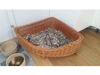 Small corner wicker dog basket