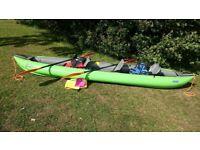 Gumotex Solar 410c inflatable kayak / canoe + paddles and buoyancy aids