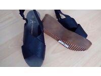 New black wedge sandals