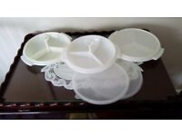3 vintage tupperware suzettes. 3with lids, 2 with centre handles. 3 sections dishes. Good used cond.
