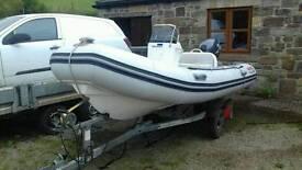 Valiant v 400 rib boat. Yamaha 25hp