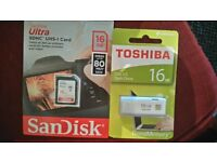 2 x 16g sandisk sdhc and toshiba usb flash drive