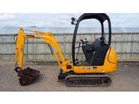 JCB 801.6cts 1.5 tonne mini digger 2008 Low hrs best available.