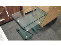 EX-DISPLAY HEAVY DUTY TEMPERED GLASS DESIGNER TV STAND/COFFEE TABLE