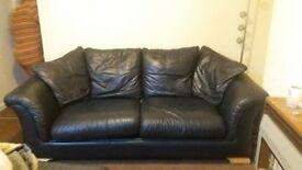 Leather armchair and 2 seater sofa. Dark dark blue. £30