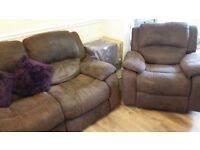 HARVEYS 3 SEATER RECLINER SOFA AND 2 RECLINING CHAIRS 1 IS A ROCKER