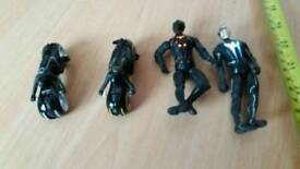 "Tron legacy the movie light-up action figures 4"" & 2 diecast bikes 3"" see pics"