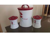 Poppy Bread Crock & Tea and Coffee Storage Jars